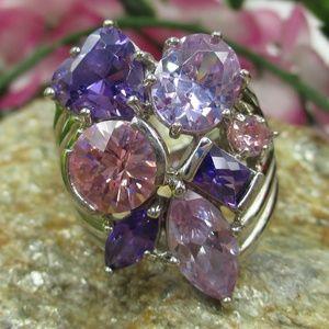 Jewelry - Vintage Size 9 Sterling Large CZ Diamond Ring